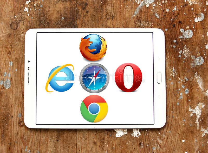 Web browsers icons. Logos and icons of web browsers internet explorer , firefox , google chrome, opera, safari on samsung tablet stock photos