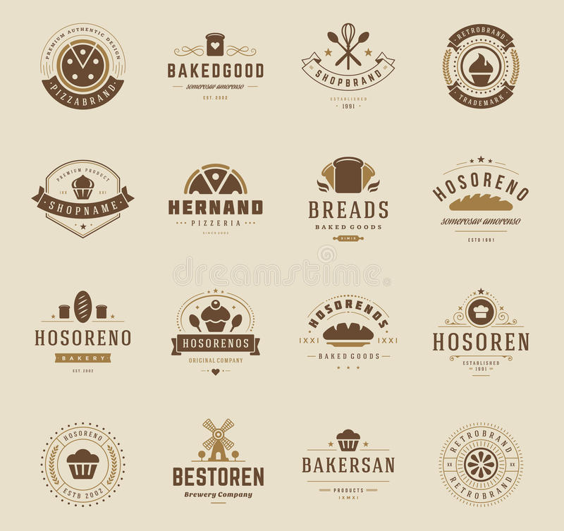 Logos, insignes et labels de boutique de boulangerie illustration stock