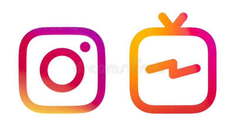 Logos Instagram und Instagram IGTV lizenzfreies stockfoto