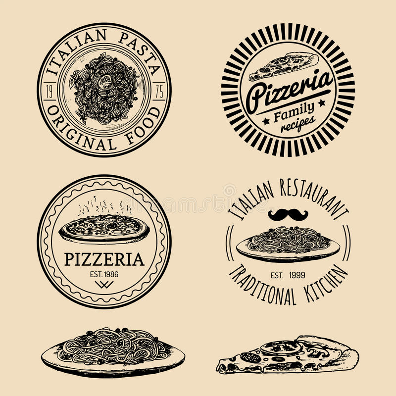 Logos italiens de nourriture de hippie de vecteur Signes modernes etc. de pâtes et de pizza Illustrations méditerranéennes tirées illustration de vecteur