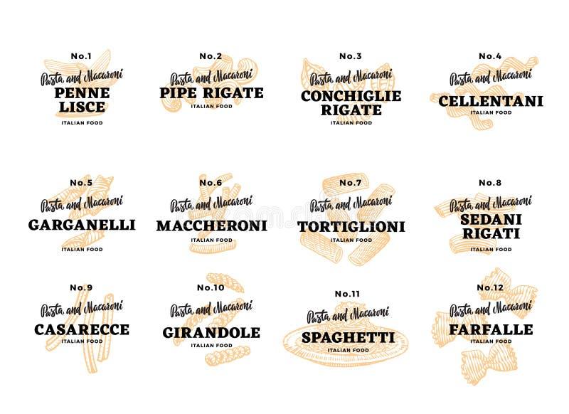 Logos italiens de nourriture réglés illustration libre de droits