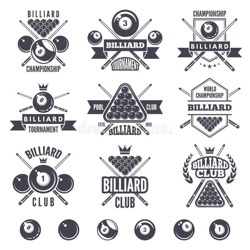 Logos messo per il club del biliardo illustrazione vettoriale