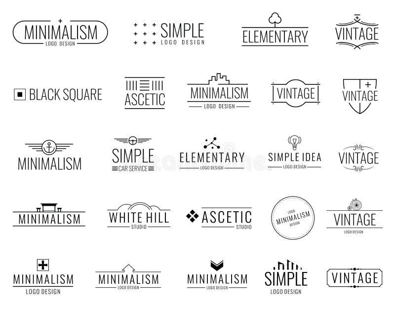 Logos minimaux de vecteur de vintage avec des formes simples Emblèmes de luxe modernes pour l'étiquette de achat illustration de vecteur