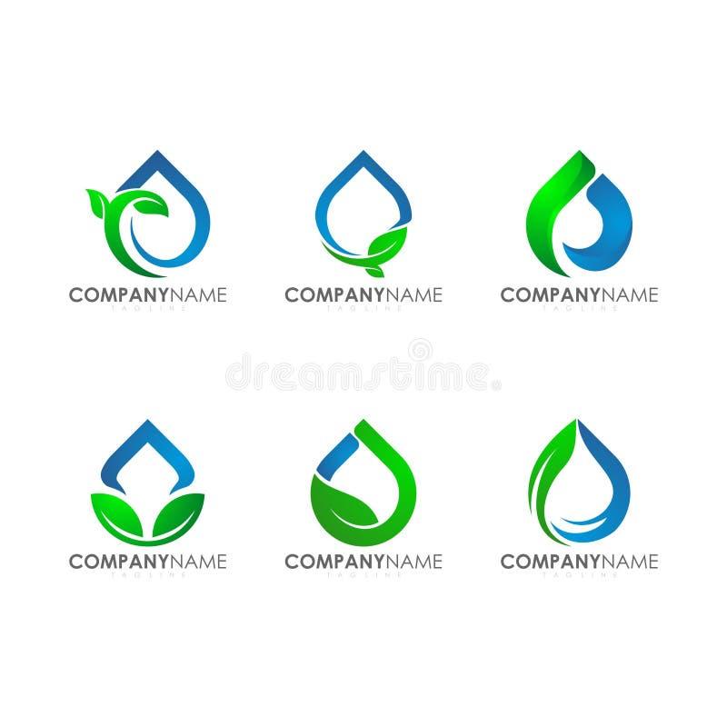 Logos moderno per la foglia industriale Logo Set della pianta della goccia di acqua di agricoltura di tecnologia della società illustrazione vettoriale