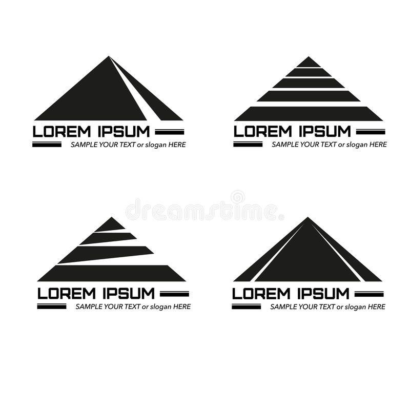 Logos monocromatico creativo stabilito con la piramide stilizzata di progettazione illustrazione vettoriale