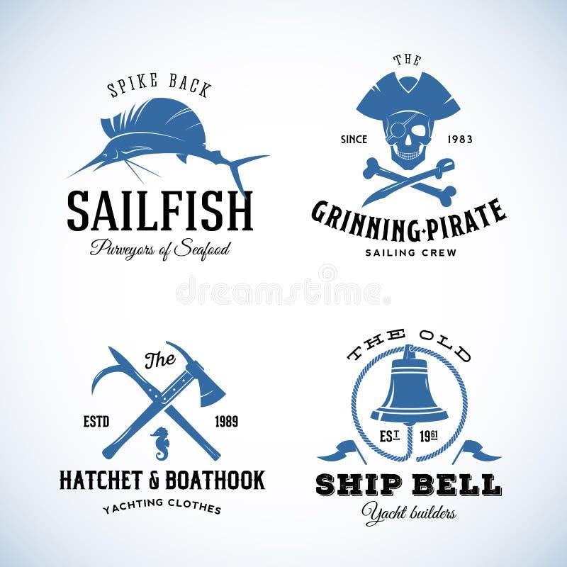 Logos nautico d'annata o etichette di vettore del mare con royalty illustrazione gratis