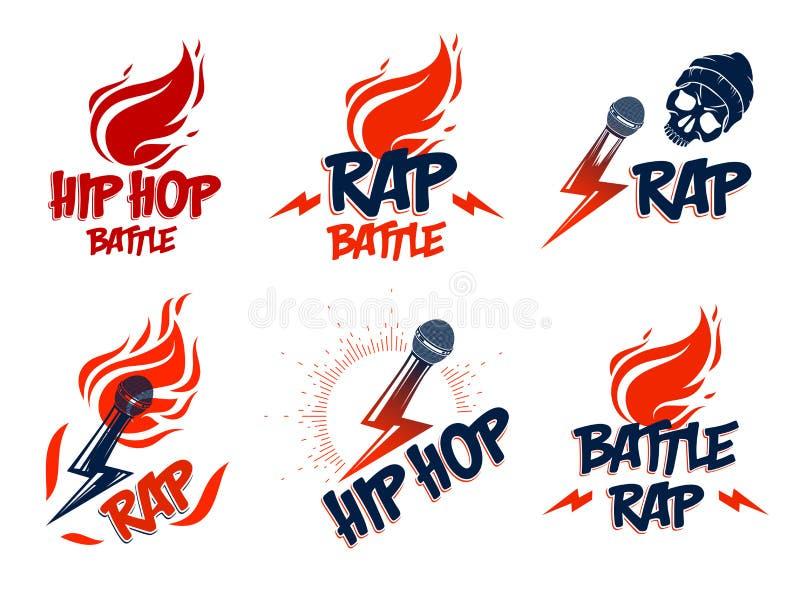 Logos o emblemi di vettore di musica rap messi con le fiamme del microfono ed il bullone di fulmine disponibili, concerto hip-hop royalty illustrazione gratis