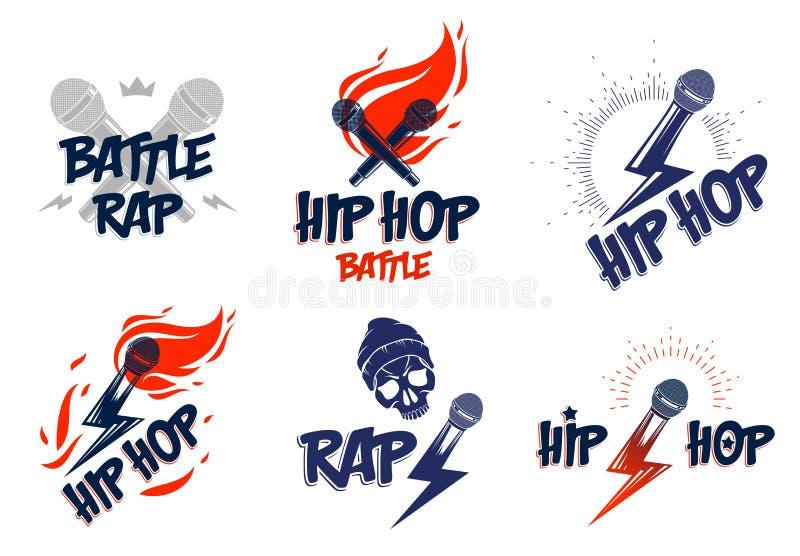 Logos o emblemi di vettore di musica rap messi con le fiamme del microfono ed il bullone di fulmine disponibili, concerto hip-hop illustrazione vettoriale