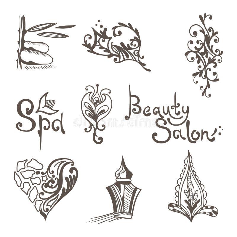 Logos orientaux de vecteur de station thermale illustration libre de droits