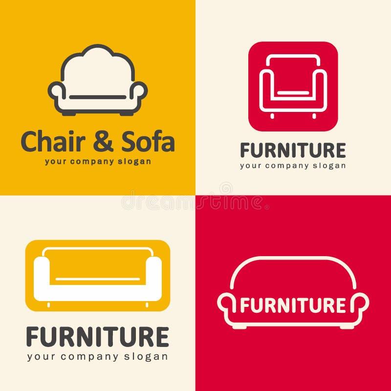 Logos per il negozio di mobili Icone della sedia e del sofà royalty illustrazione gratis