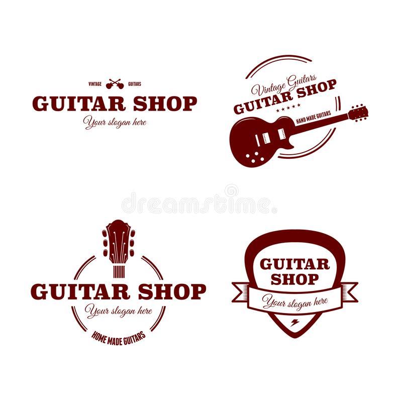 Logos pour la boutique de guitare illustration stock