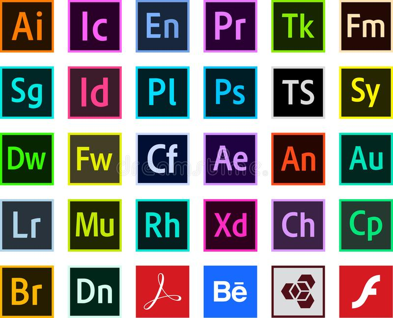 Logos Programs adobe color icons Vector. Download Icons Programs adobe color Original logos adobe Photoshop Illustrator Adobe Premiere Pro nAfter Effects Animate stock illustration