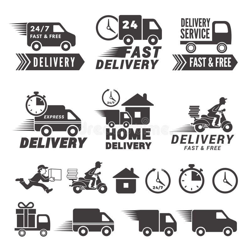 Logos réglés du service de distribution rapide Isolat de labels de vecteur sur le blanc illustration libre de droits
