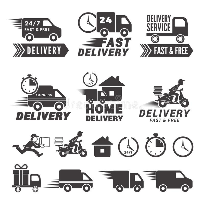 Logos set of fast delivery service. Vector labels isolate on white royalty free illustration