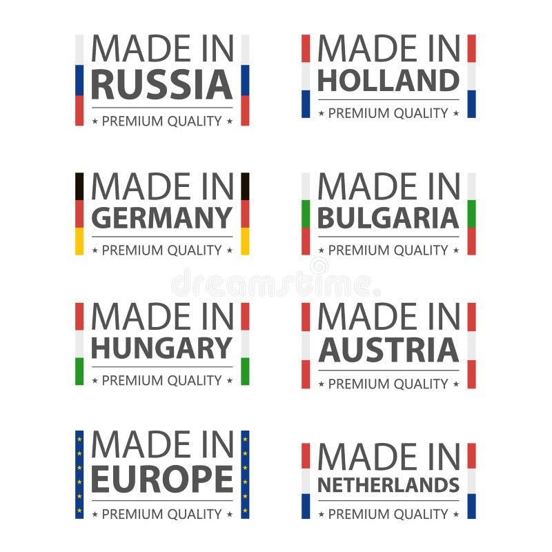 Logos simples de vecteur faits en l'Allemagne, la Russie, la Hongrie, la Hollande, la Bulgarie, l'Autriche, le Nederland et Made  illustration libre de droits