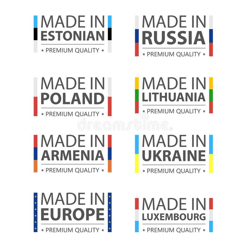 Logos simples de vecteur faits estonien, en Russie, polonais, en Lithuanie, en Arménie, en Ukraine, au Luxembourg et Made dans l' illustration stock