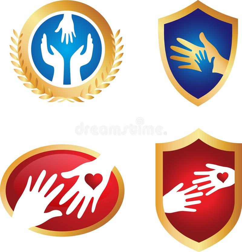 Logos sociaux de la meilleure qualité de soin illustration stock