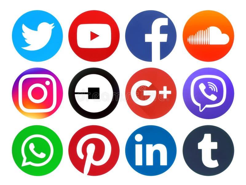 Logos sociaux de media de cercle populaire photo libre de droits