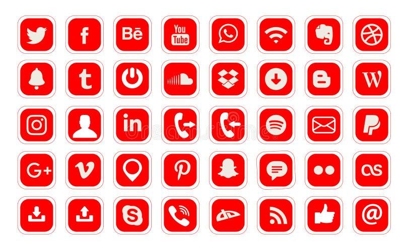 40 logos sociaux populaires de m?dias dirigent l'ic?ne de Web illustration de vecteur
