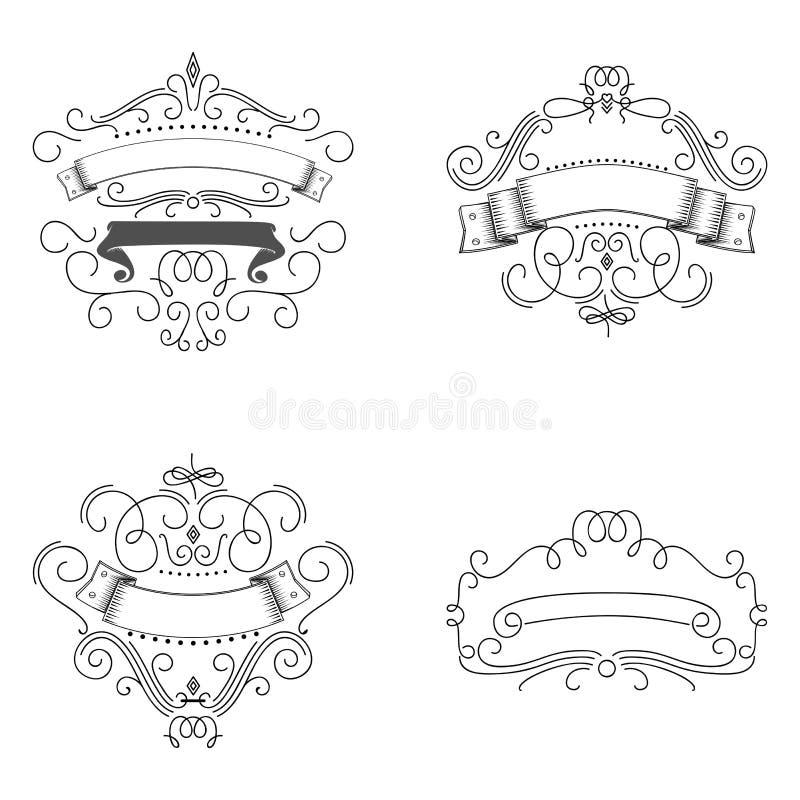 Logos template flourishes Elements calligraphic. Frames for design of monograms. stock illustration