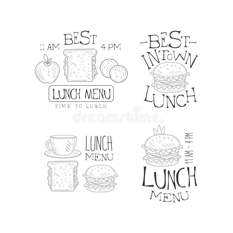 Logos tirés par la main de vecteur pour le menu du café ou du restaurant Temps de déjeuner, mieux en ville Emblèmes monochromes a illustration libre de droits