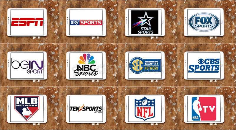 Logos of top famous tv sports channels and networks. Collection of logos and vectors of most popular sports television networks in the world on white tablet on stock images