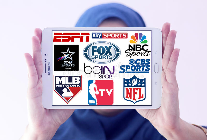 Logos of top famous tv sports channels and networks. Collection of logos and vectors of most popular sports television networks in the world on white tablet stock photo