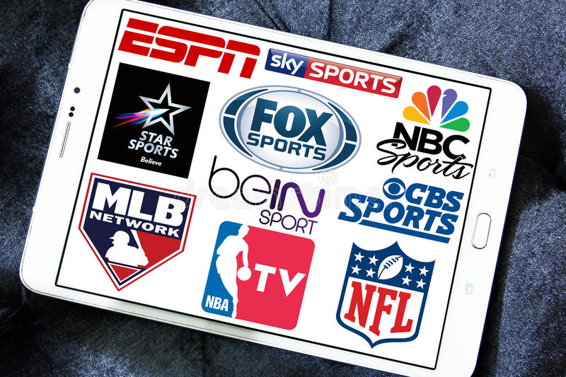 Logos of tv sports channels and networks. Collection of logos and vectors of most popular sports television networks in the world on white tablet.networks like stock photos