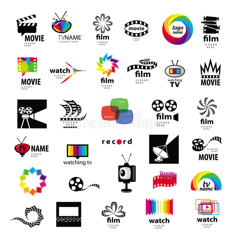 Logos TV, vidéo, photo, film illustration stock