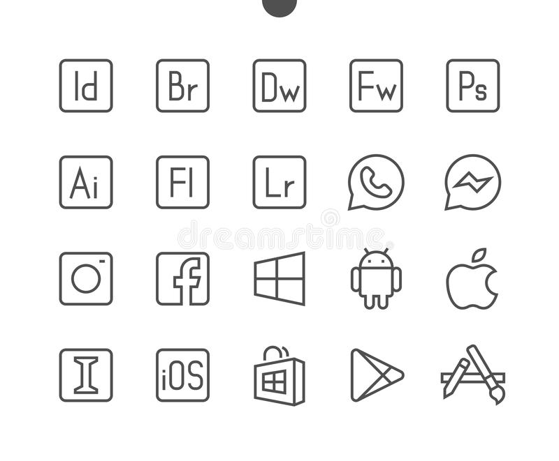 Logos UI Pixel Perfect Well-crafted Vector Thin Line Icons 48x48 Ready for 24x24 Grid for Web Graphics and Apps with royalty free illustration