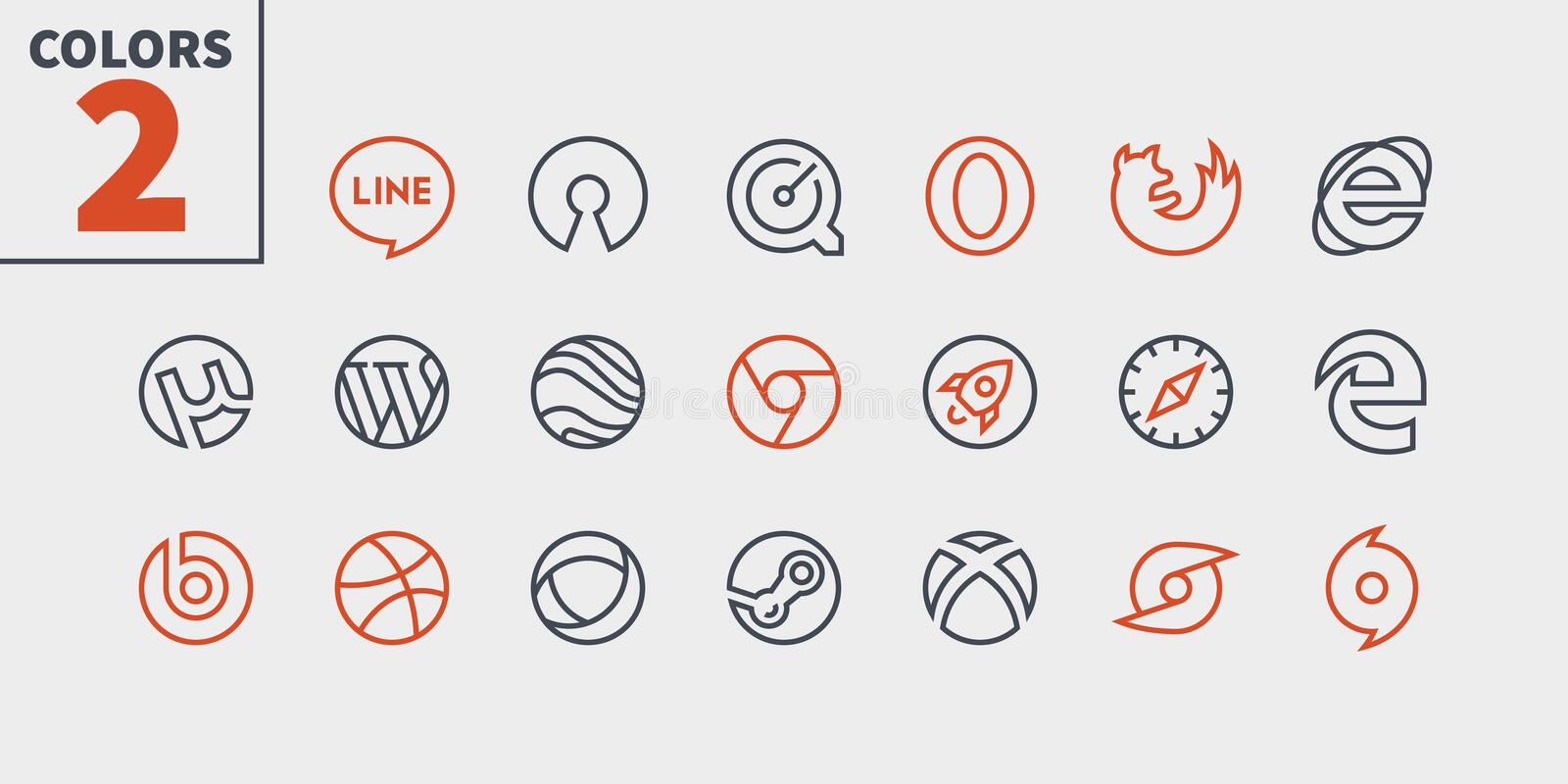 Logos UI Pixel Perfect Well-crafted Vector Thin Line Icons 48x48 Ready for 24x24 Grid for Web Graphics and Apps with. Editable Stroke. Simple Minimal Pictogram stock illustration