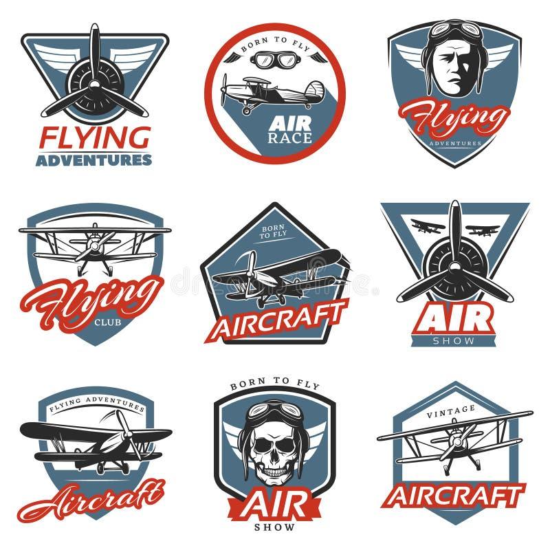 Logos variopinto d'annata degli aerei illustrazione di stock