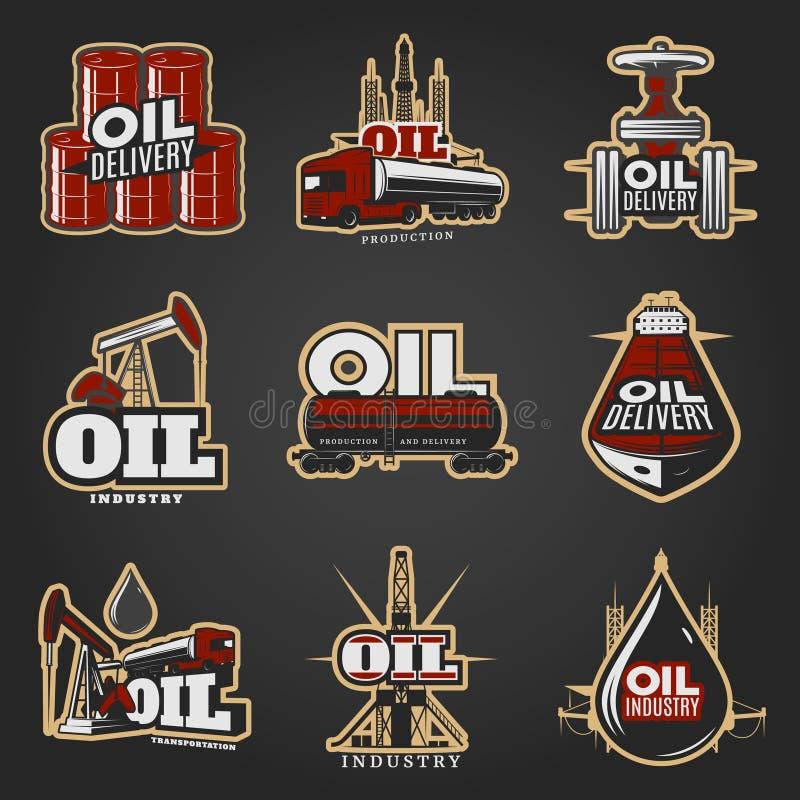 Logos variopinto di industria petrolifera royalty illustrazione gratis