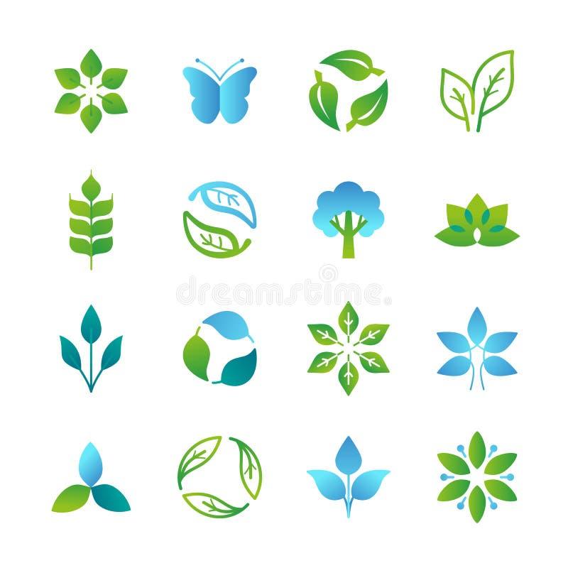 Logos verts et emblèmes de vecteur illustration de vecteur
