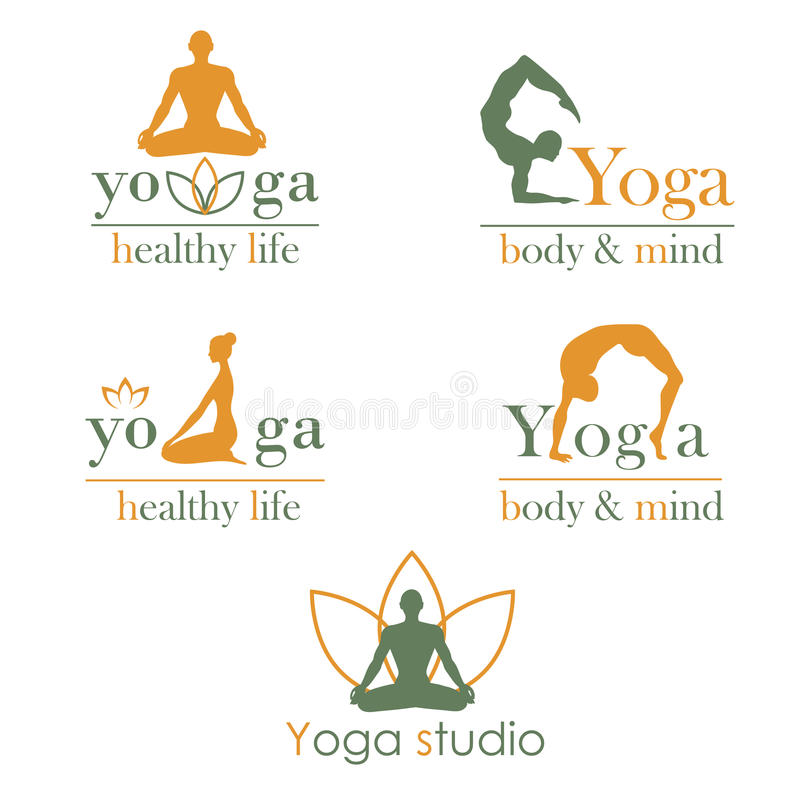 Logos for yoga studio. Set of logos for yoga studio or meditation class. Vector yoga illustration. . Set of labels, stickers, logos and badges. Fitness center vector illustration