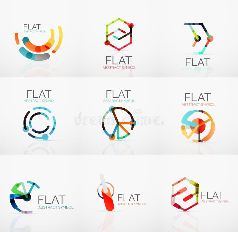 Logosamling - abstrakt minimalistic linjär plan design Högteknologiska geometriska symboler för affär, mångfärgade segment royaltyfri illustrationer