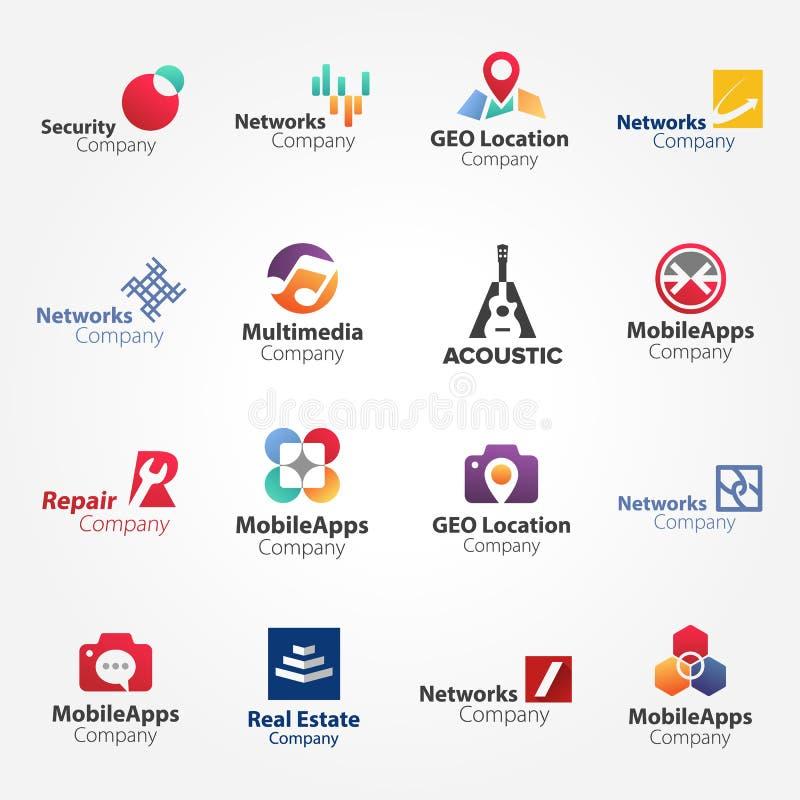 Logosamling vol 3 abstrakt geometrisk affärssymbolsuppsättning royaltyfri illustrationer