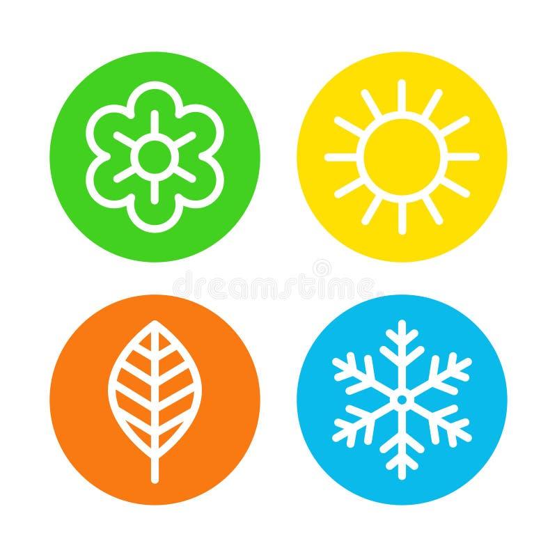 Logosatz mit vier Jahreszeiten vektor abbildung