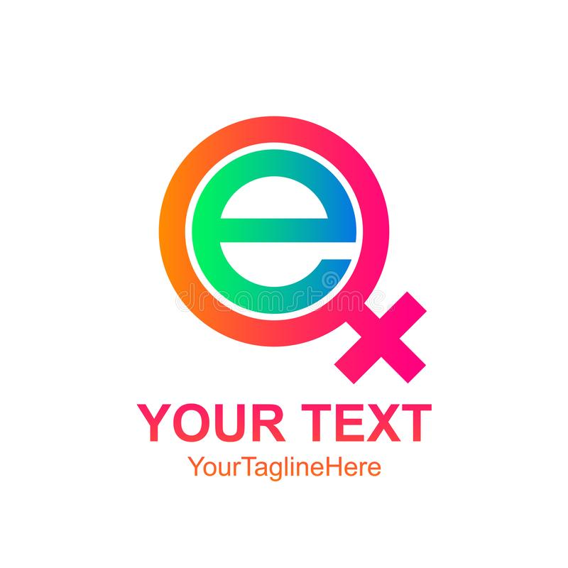 Logoschablone colorfull des Anfangsbuchstaben E weibliches Ikonendesign für stock abbildung