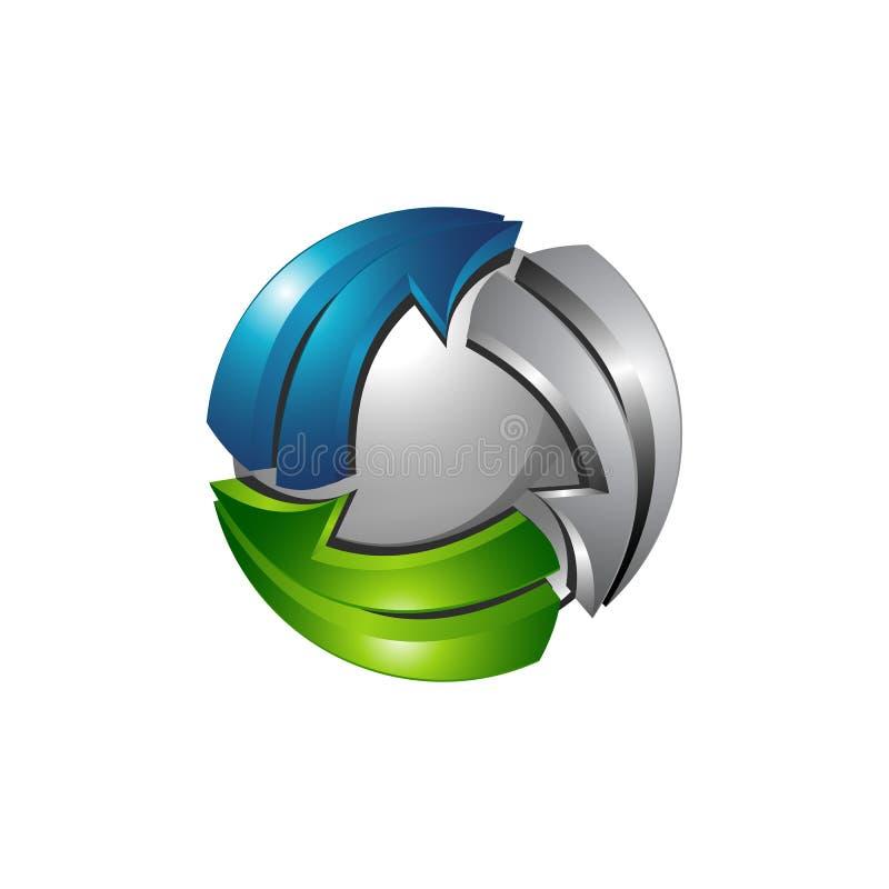 Logoschablone des Bereichs 3d mit silberner blauer und grüner Farbe lizenzfreie abbildung