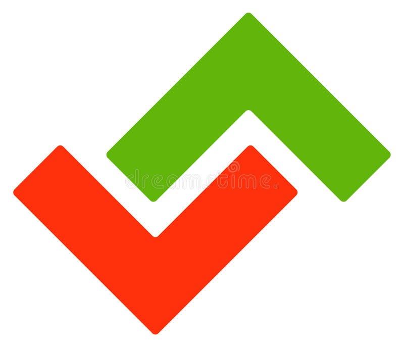 Logoschablone mit den grünen und roten Pfeilen auf und ab vektor abbildung