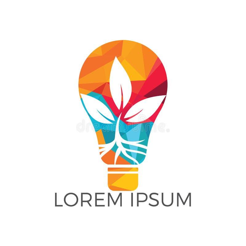 Logoschablone mit der Anlage, die innere Glühlampe wächst lizenzfreie abbildung
