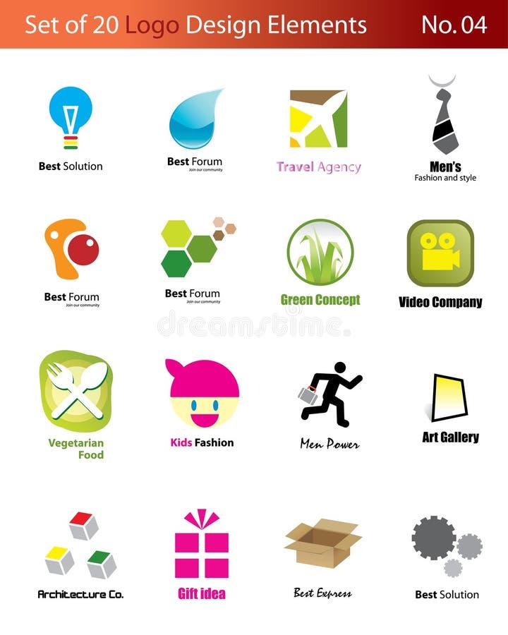 logoset för 20 element vektor illustrationer