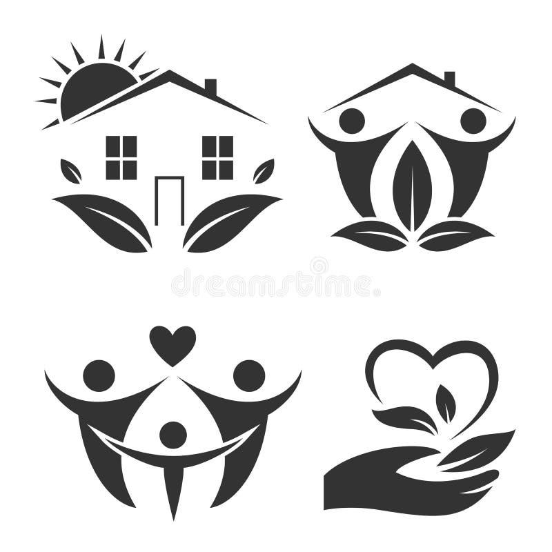 logoset för grönt hus Lycklig familjsymbol, ecovän stock illustrationer