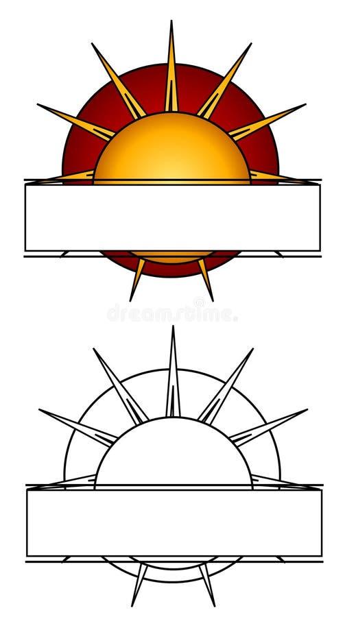 logosidan rays sunrengöringsduk stock illustrationer