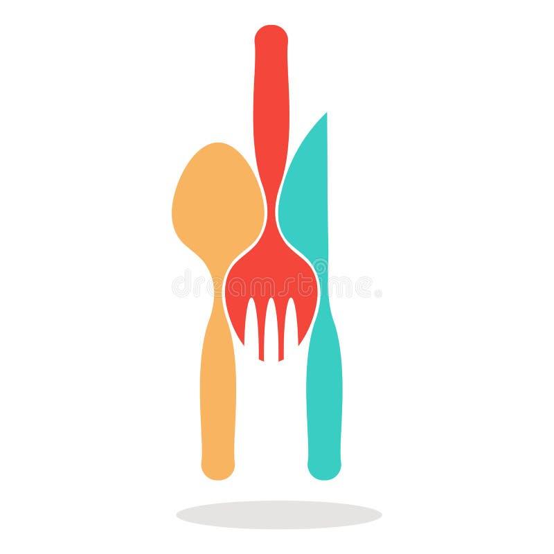 Logosked, kniv och gaffel royaltyfri illustrationer