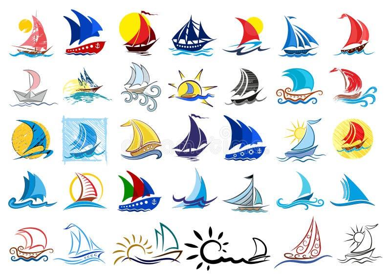 Logoskepp och segelbåtar stock illustrationer