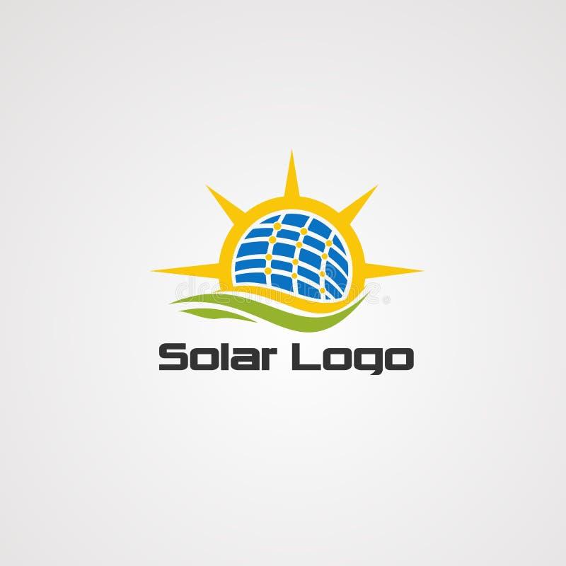 Logosolarvektor, -ikone, -element und -schablone der alternativen Energie lizenzfreie abbildung
