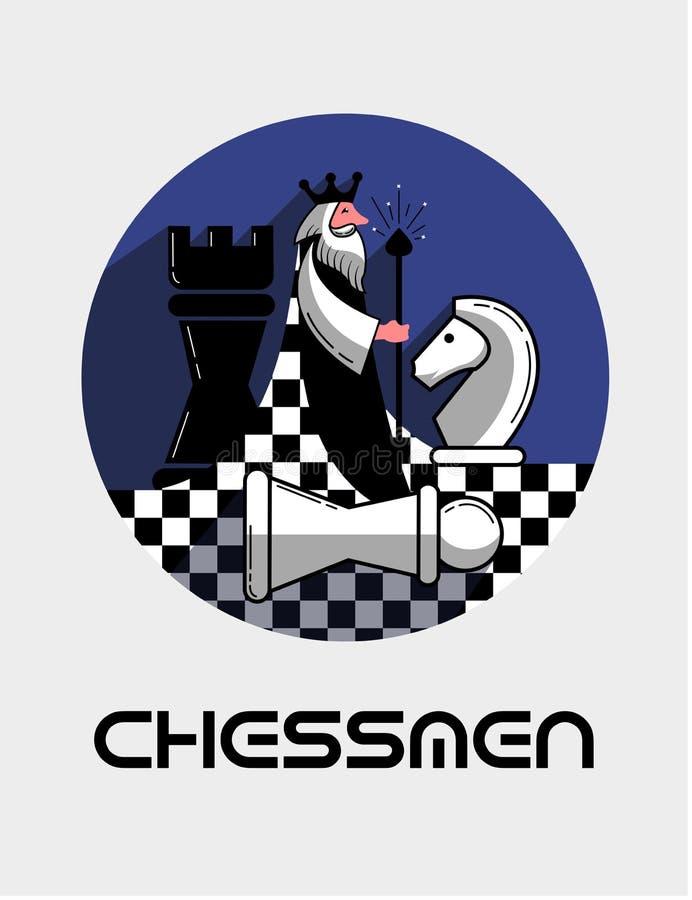 Logospielschach in einer flachen Art lizenzfreie abbildung