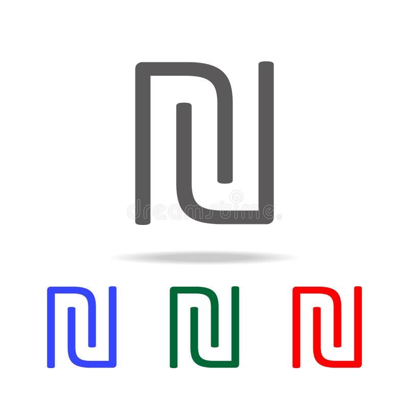 logosymbol för initial bokstav U och n- Beståndsdelar i mång- kulöra symboler för mobila begrepps- och rengöringsdukapps Symboler royaltyfri illustrationer